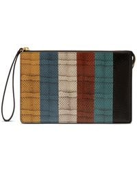 Mulberry Part Zip Pouch In Multicolour Ayers Stripe - Black
