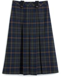 Mulberry Gia Skirt In Green Tartan Wool - Blue