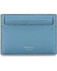 Mulberry Credit Card Slip In Pale Slate Small Classic Grain - Blue