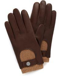 Mulberry Men's Biker Gloves In Brown Smooth Nappa