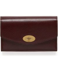 Mulberry Medium Darley Wallet In Oxblood Natural Grain Leather - Multicolour