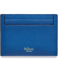 Mulberry Credit Card Slip In Porcelain Blue Small Classic Grain