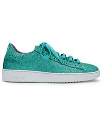 Mulberry - Jump Lace-up Sneaker In Minty Green Glitter - Lyst