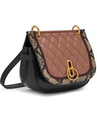 Mulberry - Small Amberley Satchel In Dark Blush, Black, Cream And Burgundy Quilted Smooth Calf And Snakeskin - Lyst
