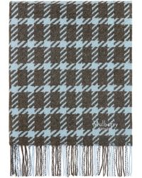 Mulberry Large Houndstooth Shawl In Pale Slate Lambswool - Multicolour