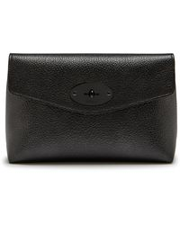 Mulberry Darley Cosmetic Pouch In Gunmetal Metallic Small Grain - Black