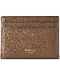 Mulberry Credit Card Slip In Antique Gold Metallic Small Grain