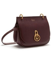 Mulberry Small Amberley Satchel In Oxblood Natural Grain Leather - Multicolour