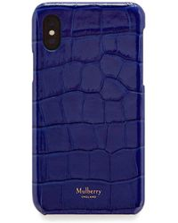 Mulberry - Iphone X/xs Cover In Cobalt Blue Croc Print - Lyst