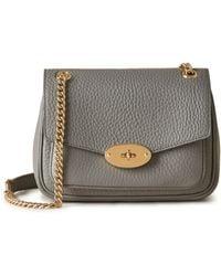 Mulberry Mini Darley Shoulder Bag In Charcoal Heavy Grain - Gray