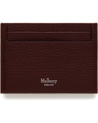 Mulberry Credit Card Slip In Oxblood Natural Grain Leather - Multicolour