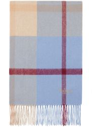 Mulberry Small Check Lambswool Scarf In Pale Slate Lambswool - Multicolor