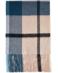 Mulberry Small Check Lambswool Scarf In Deep Blue Lambswool