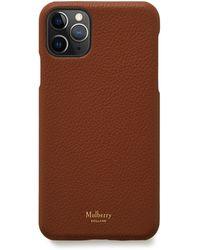 Mulberry Iphone 11 Pro Max Cover In Oak Small Classic Grain - Brown