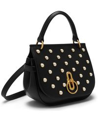 6eae8857c1 Mulberry - Small Amberley Satchel In Black Silky Calf And Pearls - Lyst