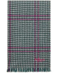 Mulberry Reversible Tricolour Check Scarf In Cream Lambswool - Multicolour