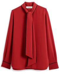 Mulberry Ottilie Blouse In Scarlet Fluid Crepe - Red