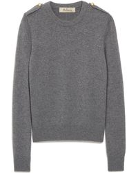 Mulberry Nancie Crew Neck Jumper In Charcoal Winter Wool - Grey