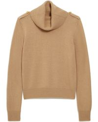 Mulberry Raina Cowl Neck Jumper In Camel Winter Wool - Natural