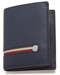 Mulberry Trifold Wallet With Tree Plaque In Midnight Heavy Grain With Stripes - Blue