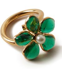 Mulberry Flower Garden Ring In Emerald Glass - Green