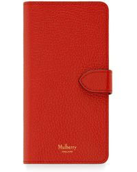 Mulberry - Iphone Flip Case In Hibiscus Red Small Classic Grain - Lyst