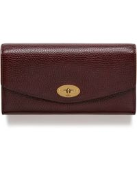 Mulberry Darley Wallet In Oxblood Natural Grain Leather - Purple