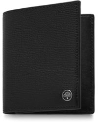 Mulberry Trifold Wallet With Tree Plaque In Black Cross Grain Leather