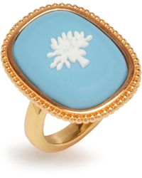 Mulberry Porcelain Tree Ring In Gold And Blue Brass Metal And Enamel