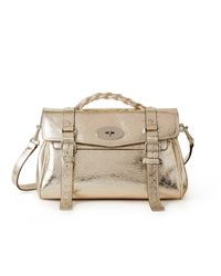 Mulberry Alexa In Light Gold Crushed Metallic Leather