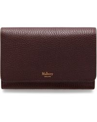 Mulberry Medium Continental French Purse In Oxblood Natural Grain Leather - Multicolour