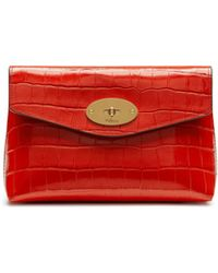 Mulberry Darley Cosmetic Pouch In Hibiscus Red Croc Print