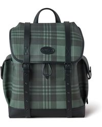 Mulberry Oversized Heritage Backpack In Green Printed Eco Scotchgrain And Flat Calf