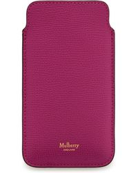 Mulberry - Iphone Cover And Card Slip In Deep Pink Cross Grain Leather - Lyst