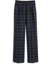 Mulberry Patsy Pants In Green Tartan Wool - Blue