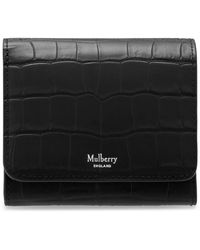 Mulberry Small Continental French Purse In Black Matte Croc