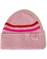 Mulberry Beanie Neon Stripe In Icy Pink And Neon Pink
