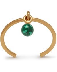 Mulberry Grace Thin Coloured Bracelet In Gold And Green Brass And Resin - Metallic