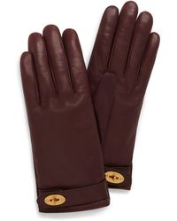 Mulberry Darley Gloves In Burgundy Smooth Nappa - Multicolour