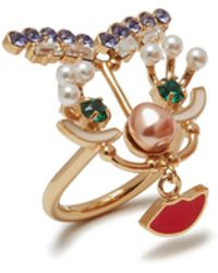 Mulberry - Face Ring In Red Brass Metal, Enamel, Swarovski Strass And Pearls - Lyst