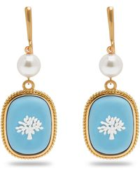 Mulberry Porcelain Tree Earrings In Gold And Blue Brass Metal And Enamel