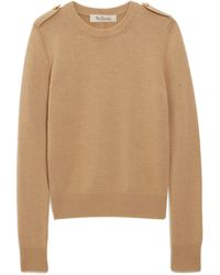 Mulberry Nancie Crew Neck Jumper In Camel Winter Wool - Natural