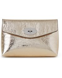 Mulberry Darley Cosmetic Pouch In Light Gold Crushed Metallic Leather