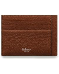 Mulberry Card Holder In Oak Natural Grain Leather - Brown