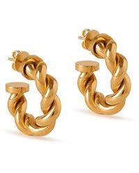 Mulberry Twist Small Hoop Earrings In Gold Brass - Metallic