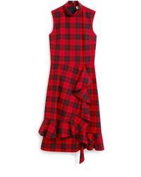 Mulberry Pollie Dress In Scarlet Tartan Canvas - Red