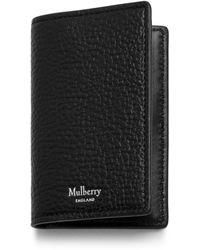 Mulberry Card Case In Black Natural Grain Leather