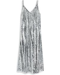 Mulberry Kelsey Dress In Silver Paillette - Metallic