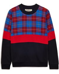 Mulberry Annalisa Sweatshirt In Porcelain Blue Check Colour Block Cotton Jersey
