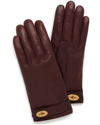 Mulberry - Darley Gloves In Burgundy Smooth Nappa - Lyst